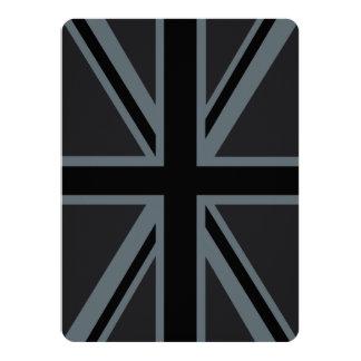 Black Union Jack British Flag Design Customize it 14 Cm X 19 Cm Invitation Card
