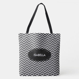 Black white add your own Name Background Tote Bag