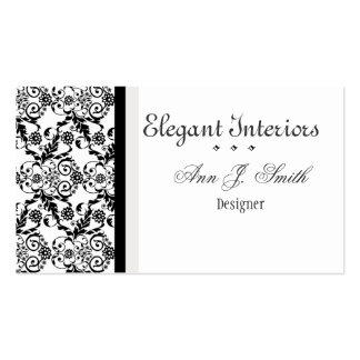 Black White Classy Elegant Damask Floral Pack Of Standard Business Cards