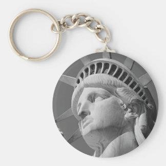 Black & White Close-up Statue of Liberty Basic Round Button Key Ring