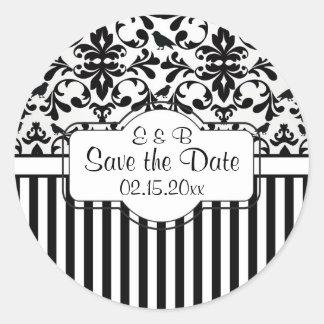 Black white Damask swirls, stripes Save the Date Round Sticker