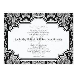 Black White Damask Wedding Invitations Monogrammed