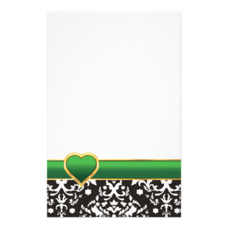 Black white damask with green band and heart customized stationery