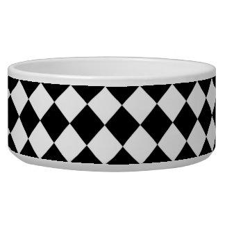 Black White Diamond Checkers Dog Food Bowl