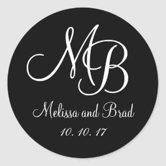 Black White Double Monograms Wedding Favor Sticker