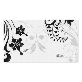 Black White Floral Wedding Place or Escort Cards Pack Of Standard Business Cards