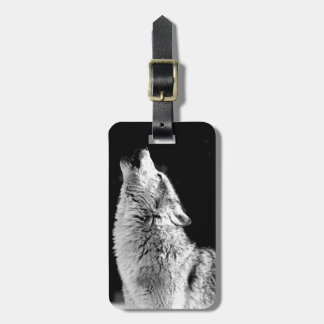 Black & White Howling Wolf Bag Tags