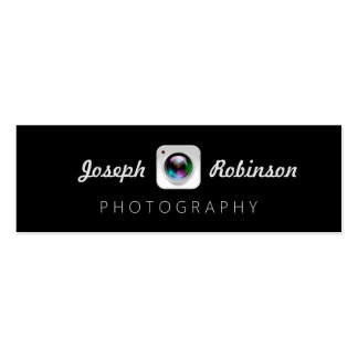 Black White Photography Camera Lens Logo Pack Of Skinny Business Cards