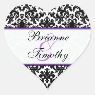 """Black White Purple Damask 1.5"""" Wedding Sticker"""