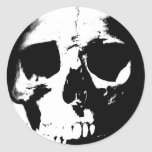 Black & White Skull Round Sticker