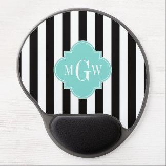 Black White Stripe Turquoise Quatrefoil 3 Monogram Gel Mouse Pad
