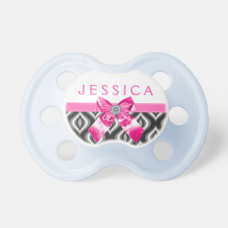 Black & White Teardrops Pattern &Pink Bow Baby Pacifier