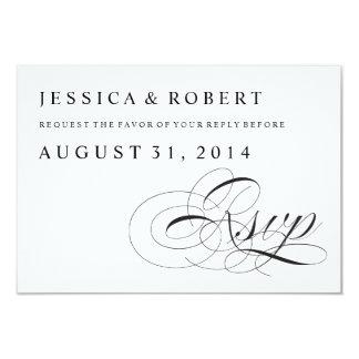 Black & White Traditional Wedding RSVP Card 9 Cm X 13 Cm Invitation Card
