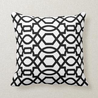 Black & White Trellis Print Throw Pillow Throw Cushions