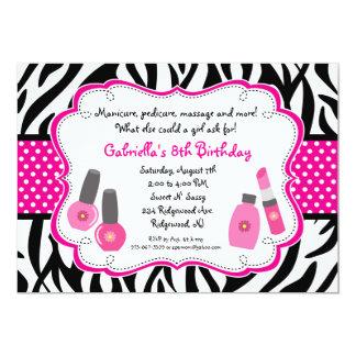 Black & White Zebra Girls Spa Invite