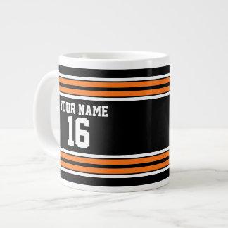 Black with Orange White Stripes Team Jersey Jumbo Mug