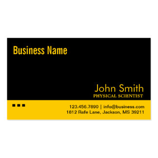 Black & Yellow Physical Scientist Business Card