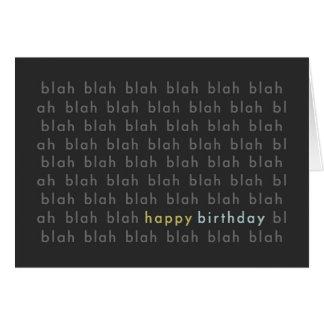 Blah Blah Blah Happy Birthday Typography Card