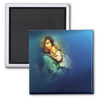 Blessed Virgin Mary and Infant Child Jesus Square Magnet