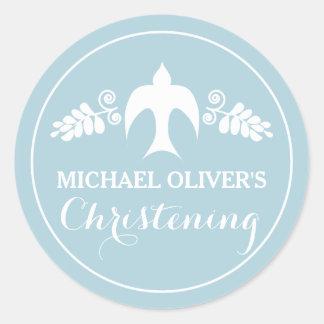 Blessings for Baby Boy Christening Invitation Round Sticker