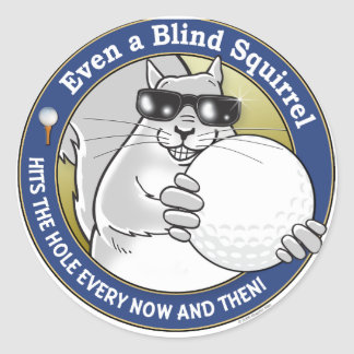 Blind Squirrel Golf Round Sticker
