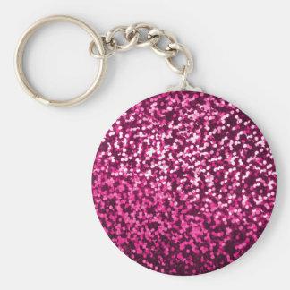 Bling Pink Girly Girl Sparkle Pattern Basic Round Button Key Ring