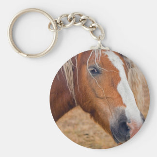 Blond Horse Basic Round Button Key Ring