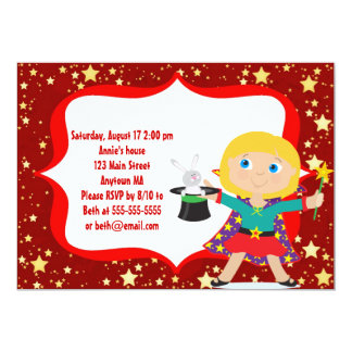 Blonde  Girl Magician Birthday Party Invitation