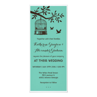 Blue and Brown Bird Cage Wedding Invitation