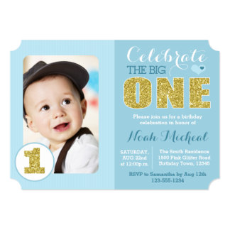 Blue and Gold First Birthday Party Invitation