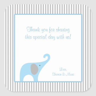 Blue and Gray Elephant Baby Shower Favor Treat Square Sticker
