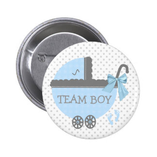 Blue and Grey Team Boy Baby Carriage Shower 6 Cm Round Badge