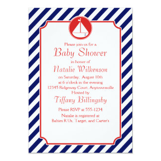 Blue and Red Sailboat  Baby Shower 13 Cm X 18 Cm Invitation Card