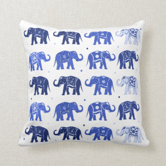 Blue and White Elephant Pattern Pillow Cushion