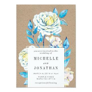 Blue and White Rose Wedding Invitation Kraft