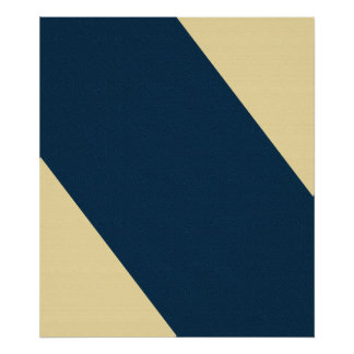 Blue and Yellow Diagonal Striped Posters