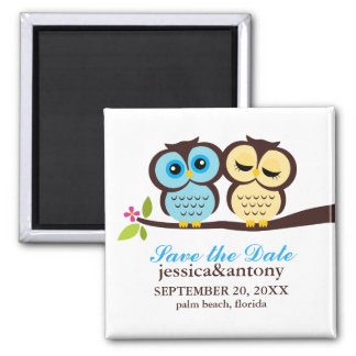 Blue and Yellow Owls Wedding Square Magnet