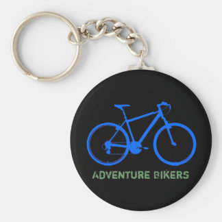 blue bike personalizable basic round button key ring