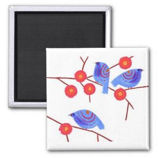 Blue birds square magnet