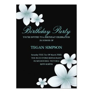 Blue & Black Frangipani Birthday Invite