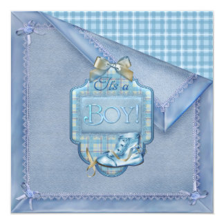 Blue Blanket Vintage Bootie Plaid Blue Brown Baby  13 Cm X 13 Cm Square Invitation Card