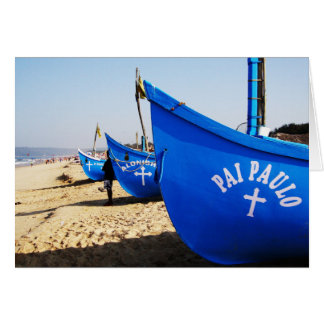 Blue Boats on Candolim Beach Goa India Greeting Card