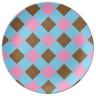 Blue, brown and pink argyle pattern porcelain plates