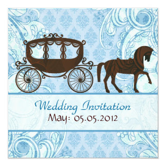 Blue & Brown Horse & Carriage- Wedding Invitation