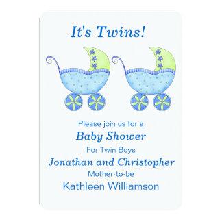 Blue Buggy Carriage Twin Boys Baby Shower 13 Cm X 18 Cm Invitation Card