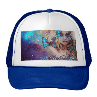 BLUE BUTTERFLY WITH GREEN GOLD SPARKLES CAP