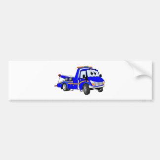 Blue Cartoon Tow Truck Bumper Sticker