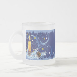 Blue Christmas cup with candle Frosted Glass Mug