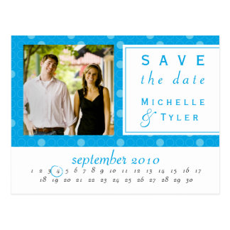 Blue Circle Save the Date Card Postcard