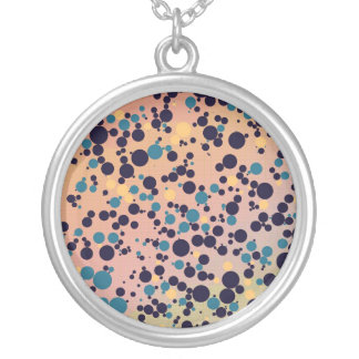 Blue Circles on Gradient Round Pendant Necklace